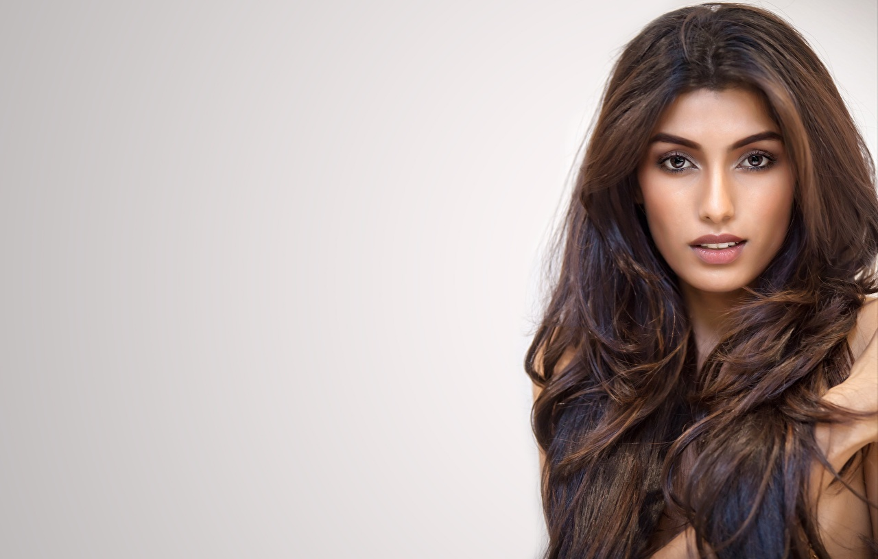 Desktop Hintergrundbilder Indian Rakshitha Haar Gesicht junge frau Starren Prominente Grauer Hintergrund Mädchens junge Frauen Blick