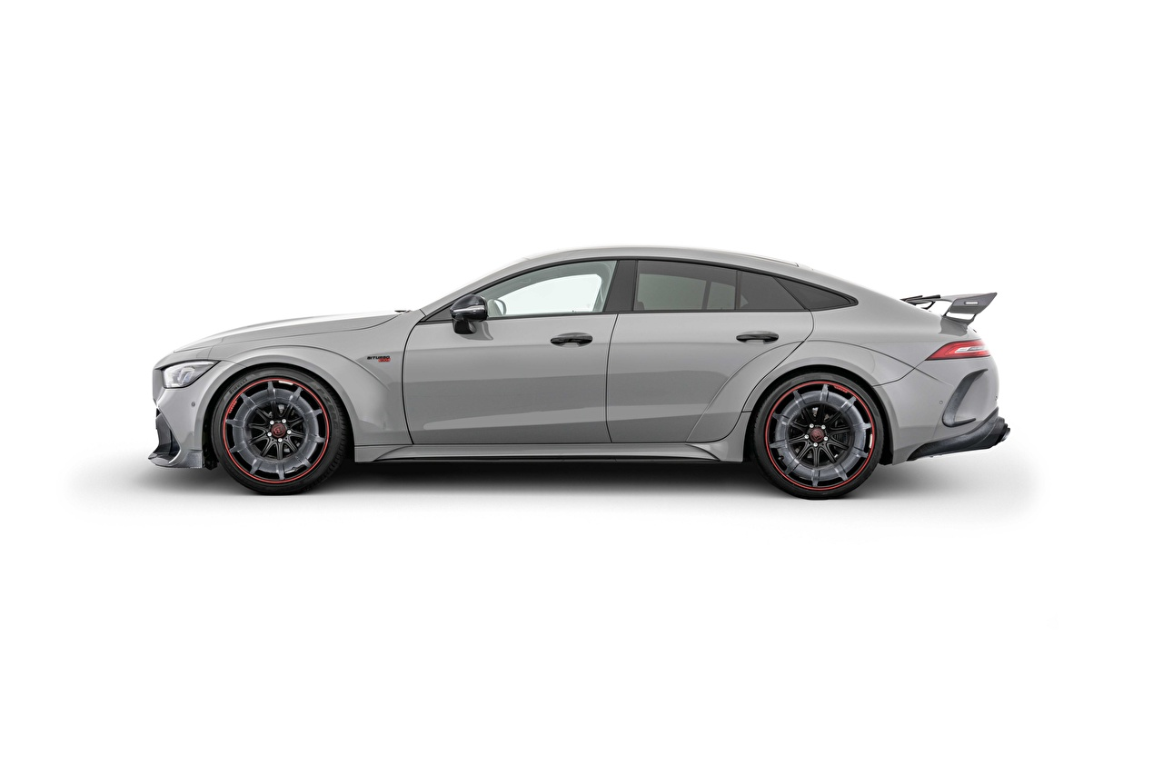 Photos Mercedes-Benz Brabus Rocket 900, AMG GT 63 S, 2020 Grey Side Cars White background gray auto automobile
