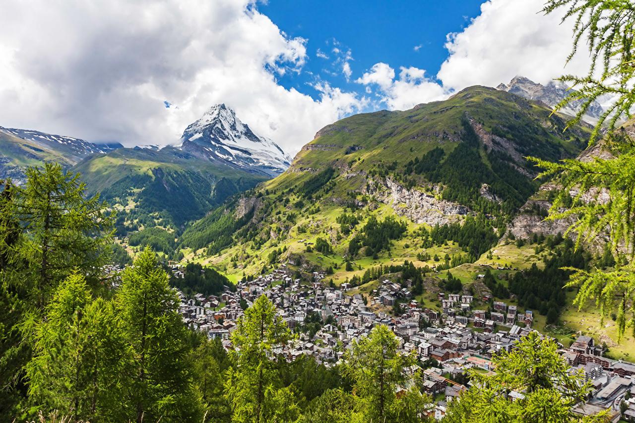 Desktop Wallpapers Alps Switzerland Zermatt Nature Mountains Building mountain Houses