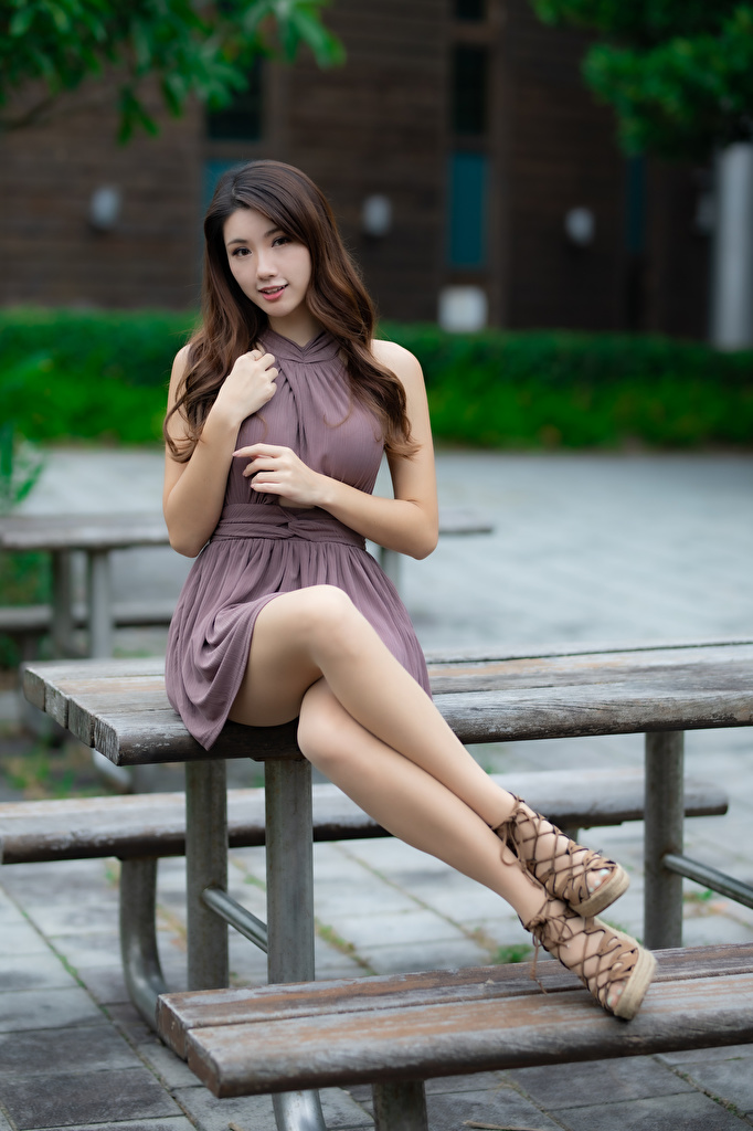 Desktop Wallpapers Bokeh Beautiful Girls Legs Asiatic Sitting Glance Dress  for Mobile phone blurred background female young woman Asian sit Staring gown frock