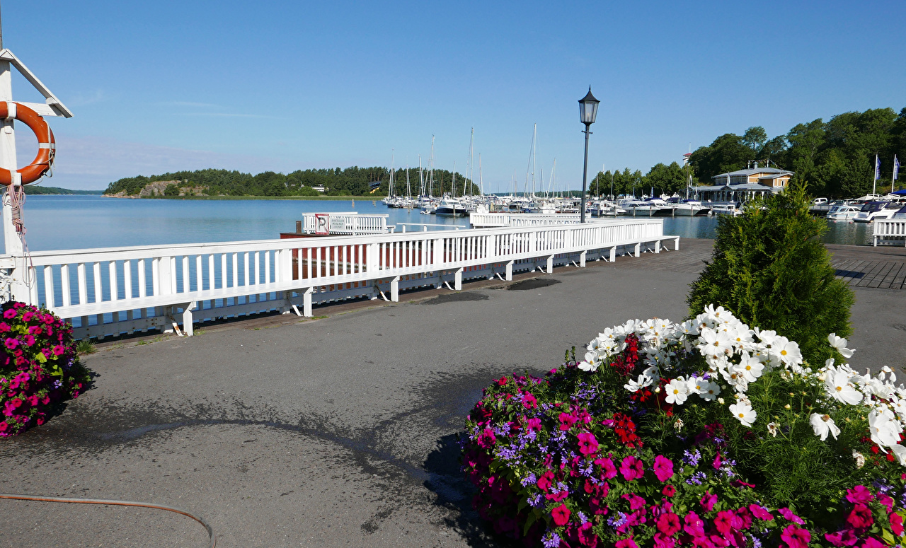 Images Finland Naantali Fence Petunia Riverboat Cosmos plant Berth Street lights Cities Pier Marinas