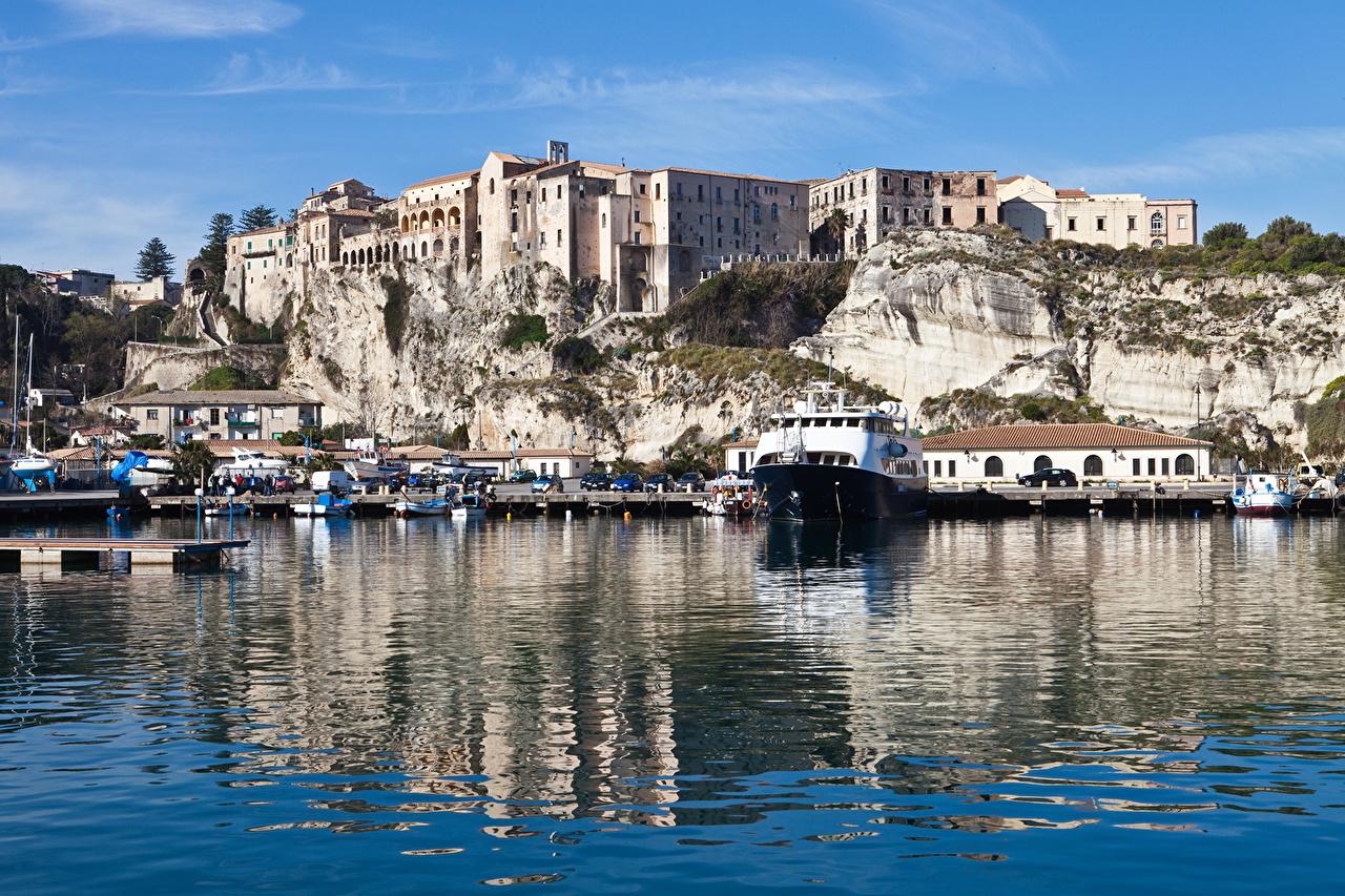 、イタリア、海岸、水、桟橋、Tropea、、都市、
