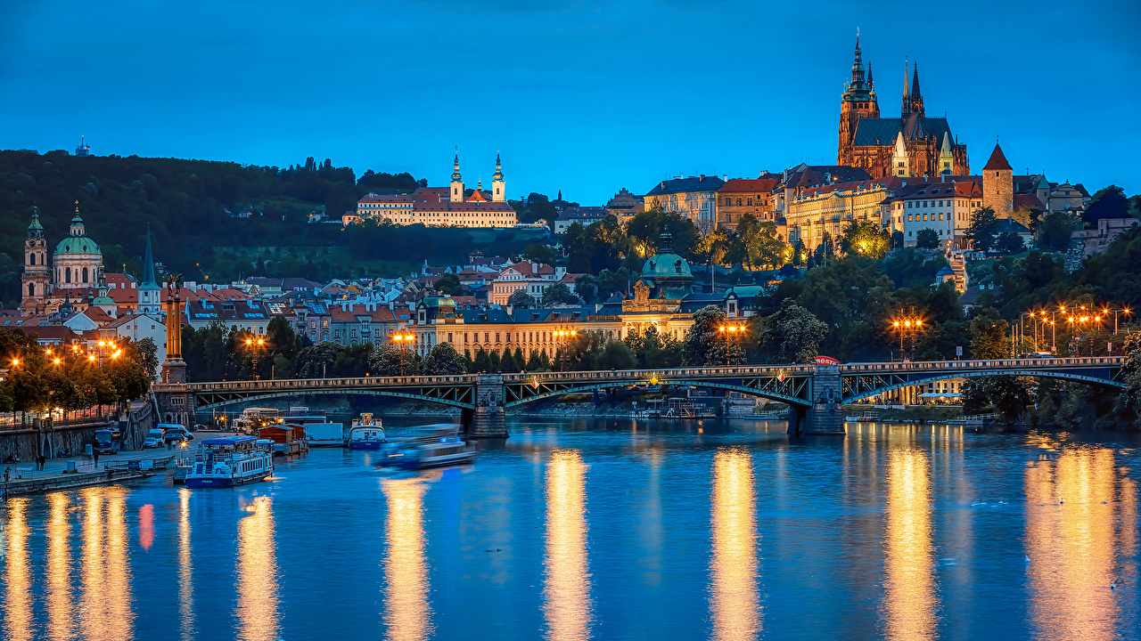 Photo Prague Czech Republic Bridges Riverboat Rivers Evening Street lights Cities Building Houses