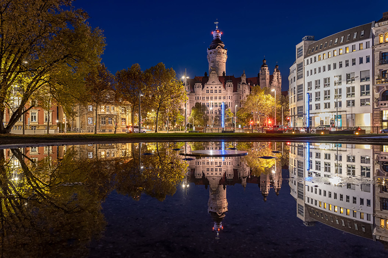 Picture Germany Leipzig Reflection Night Rivers Street lights Houses Cities reflected river night time Building