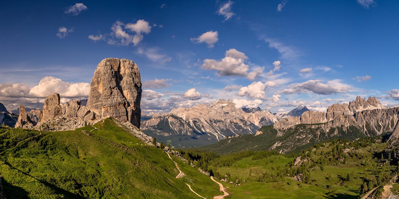 Photos Nature Italy panoramic Dolomites Alps Clouds Mountains Sky Cliff Panorama mountain Crag Rock