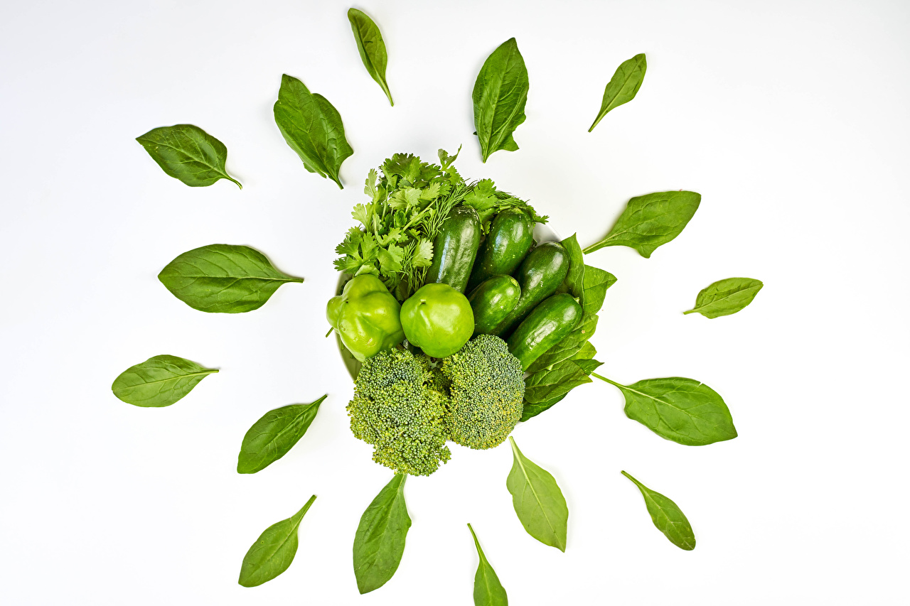 Image Leaf parsley Green Cucumbers Broccoli Food Vegetables Bell pepper White background Foliage