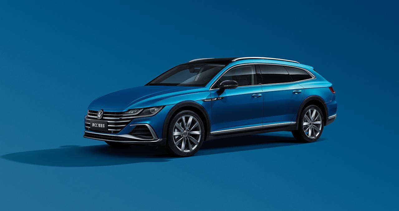 Desktop Hintergrundbilder Volkswagen Kombi CC Shooting Brake 380 TSI, China, 2020 Blau auto Metallisch Farbigen hintergrund Autos automobil