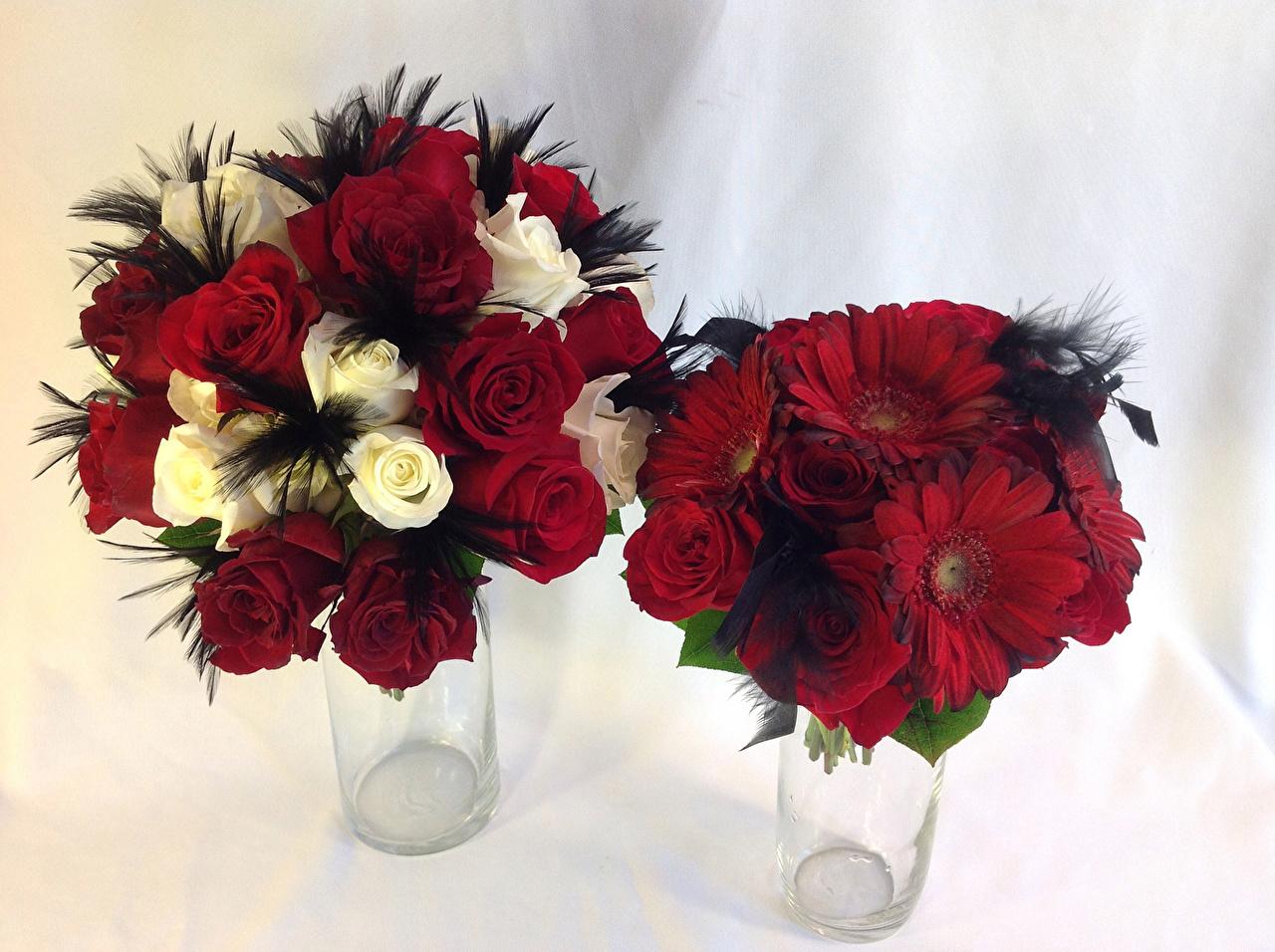 Fotos von Sträuße Zwei Rosen Gerbera Blumen 2
