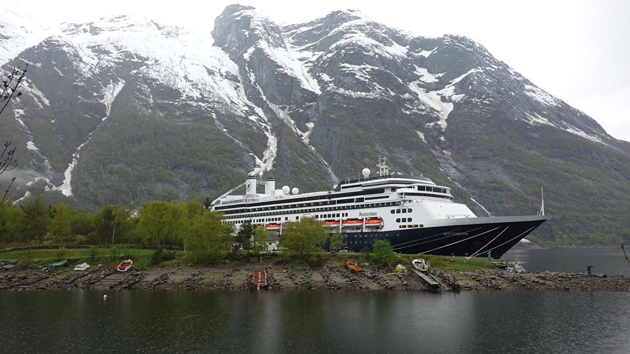 Picture Norway Cruise liner Eidfjord, Rotterdam Mountains Marinas Cities mountain Pier Berth