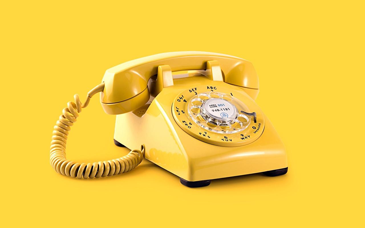 壁紙 レトロ 黄色 電話機 色の背景 ダウンロード 写真