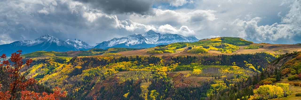 Bilder von Vereinigte Staaten Panorama Colorado Natur Herbst Gebirge Landschaftsfotografie Wolke USA Panoramafotografie Berg