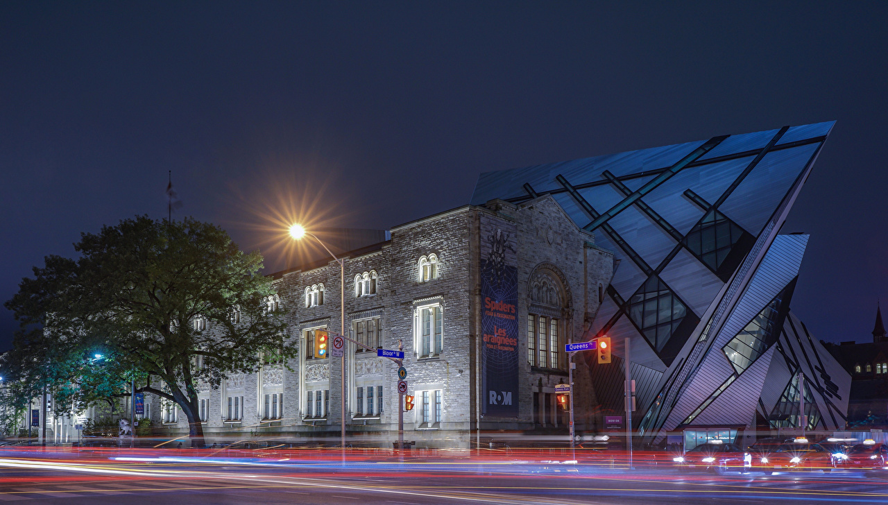 Picture Toronto Canada museums Museum real Ontario Street night time Houses Cities Night Building