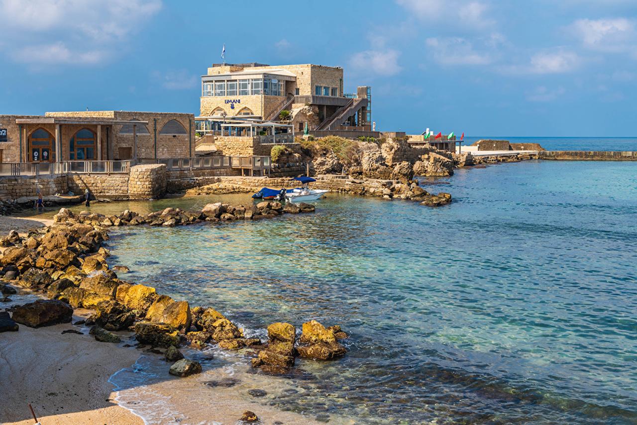Desktop Hintergrundbilder Israel Caesarea Steine Küste Haus Städte Stein Gebäude