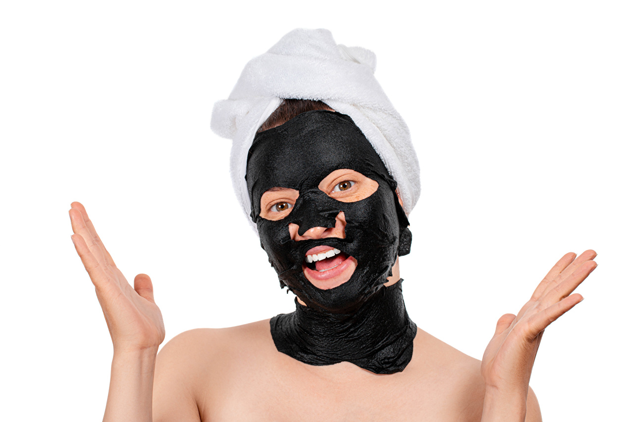 Photo Smile Face Girls Hands Masks White background female young woman