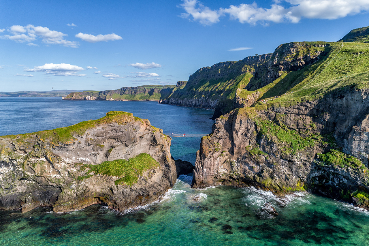 Desktop Wallpapers United Kingdom Antrim, Northern Ireland Rock Nature Coast Crag Cliff