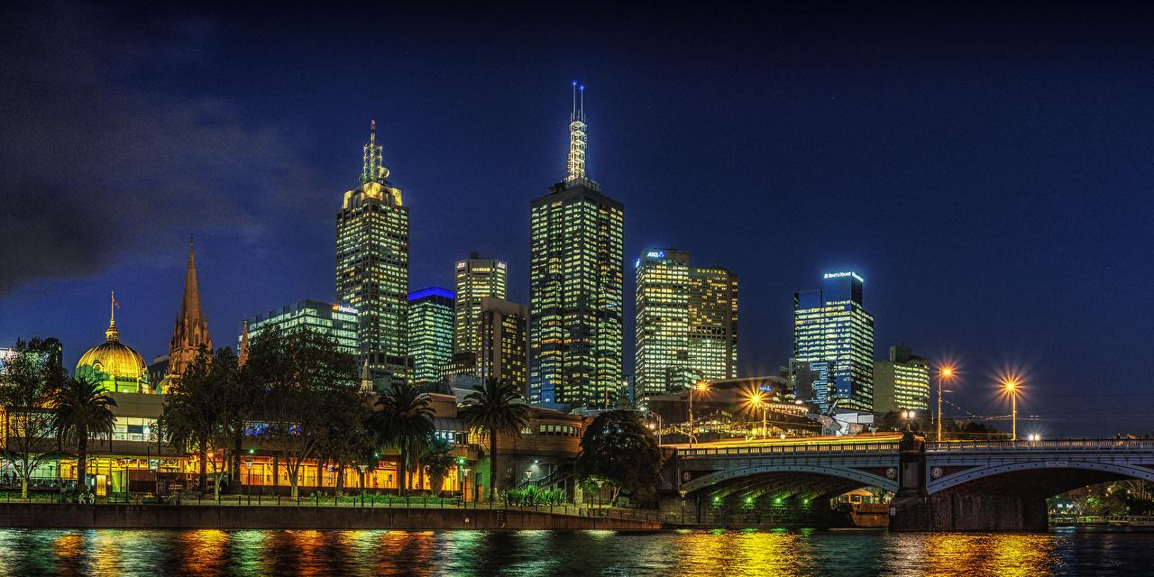 、オーストラリア、メルボルン、住宅、川、橋、夜、街灯、建物、都市