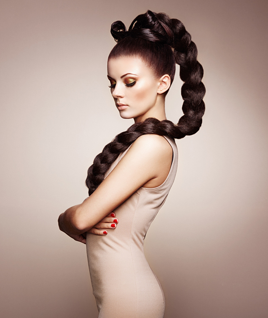 Images Brown haired Modelling Braid hair young woman Side Colored background  for Mobile phone plait Model Girls female