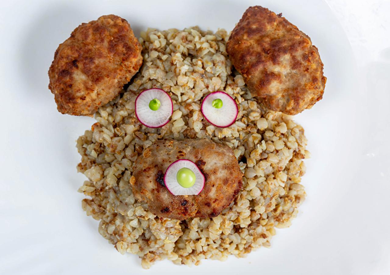 Desktop Wallpapers Frikadeller Radishes Buckwheat Creative Teddy bear Food Porridge Gray background rissole meatballs Kasha