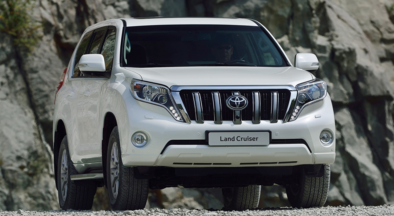 Picture Toyota Sport utility vehicle Land Cruiser Prado, 2013 White auto Front SUV Cars automobile