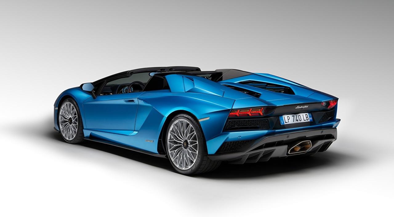 Images Lamborghini Aventador S Roadster, 2017 Roadster Blue auto Gray background Cars automobile