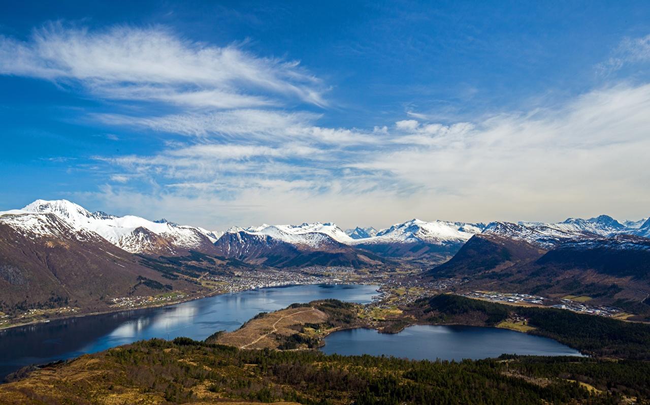 Montanhas Céu Noruega Helgehornet Nuvem Fiorde montanha Naturaleza