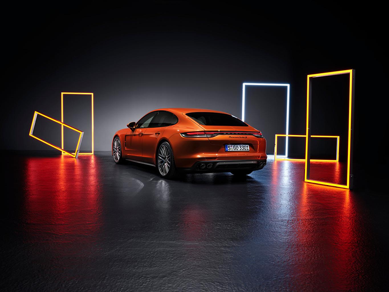 Images Porsche Panamera Turbo S (971), 2020 Orange Metallic Back view automobile Cars auto