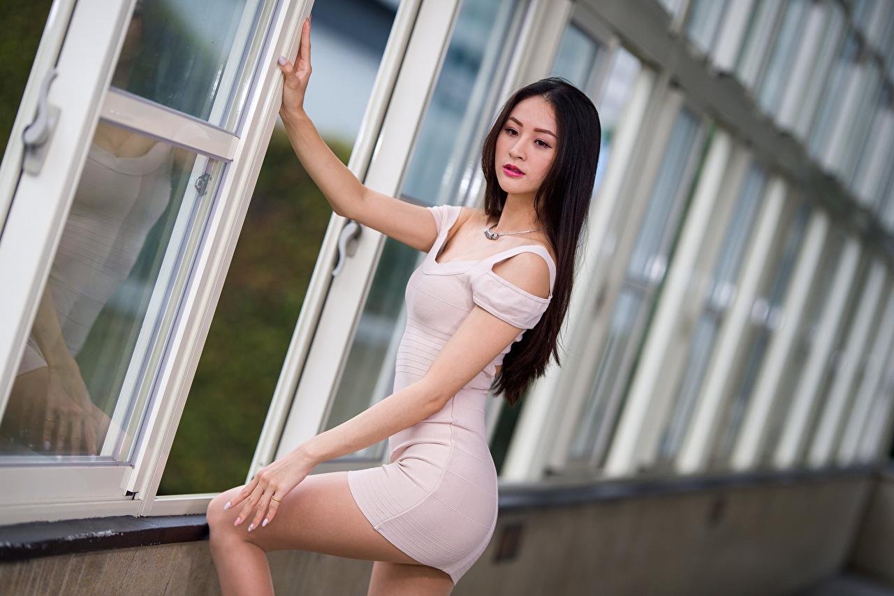 Foto Bokeh Pose junge frau Asiaten Kleid unscharfer Hintergrund posiert Mädchens junge Frauen Asiatische asiatisches