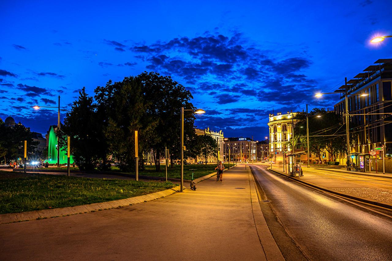 Foto Wien Österreich Straße Abend Straßenlaterne Städte Gebäude Stadtstraße Haus