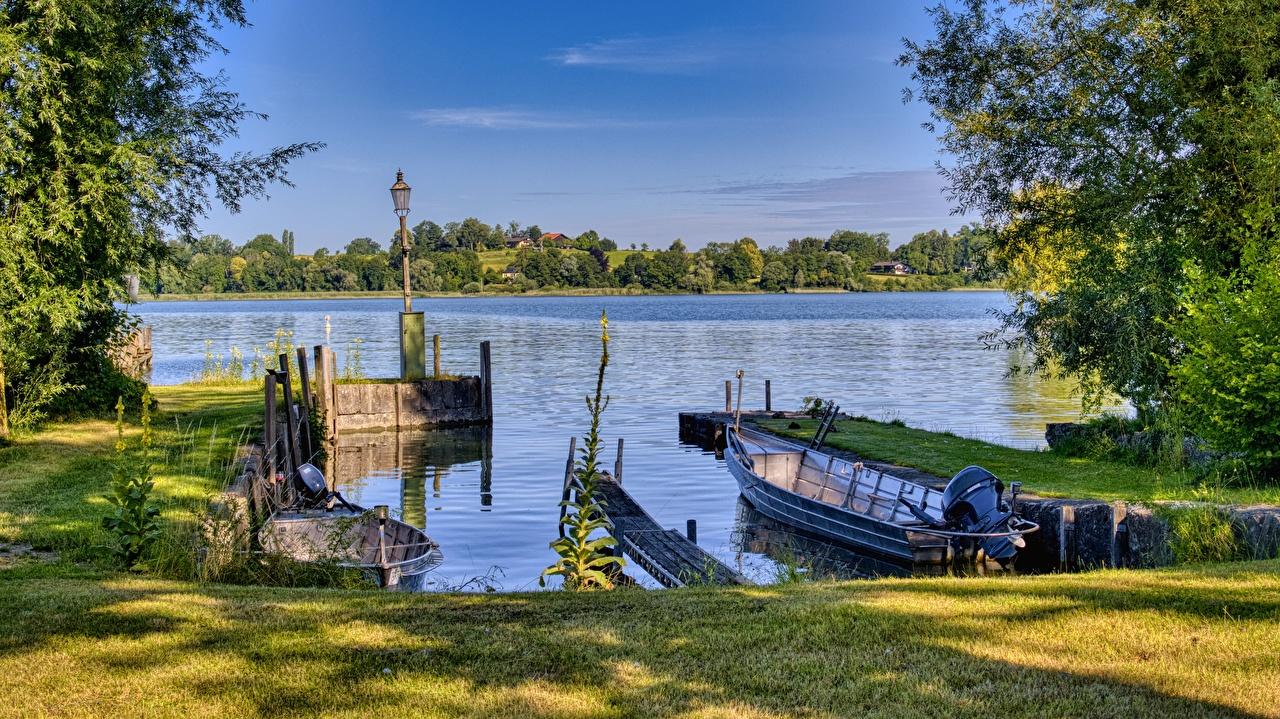 Photo Bavaria Germany Chiemsee Nature Lake Grass Boats Marinas Pier Berth