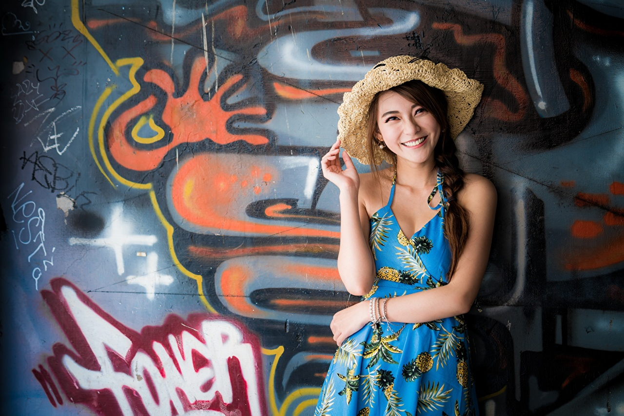 Image Brown haired Smile Hat Girls Asiatic Graffiti walls Hands Staring female young woman Asian Wall Glance