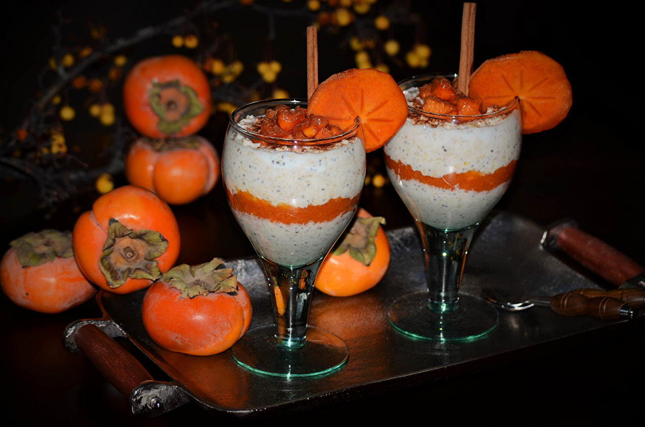 Pictures Two Persimmon Food Stemware Drinks 2 kaki drink