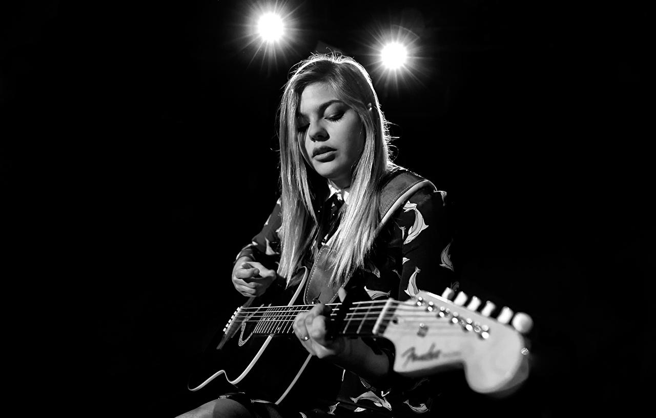 Fonds D Ecran Louane Emera Guitare Celebrites Filles Telecharger Photo