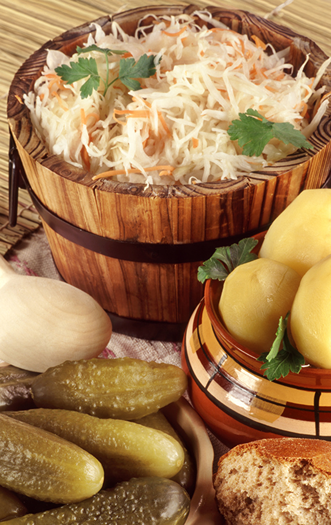 Picture Bucket Potato Cabbage Cucumbers Food  for Mobile phone