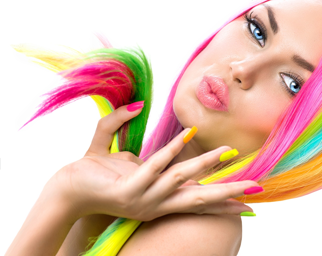 Pictures Manicure Multicolor Face Girls Lips Hands Fingers White background female young woman