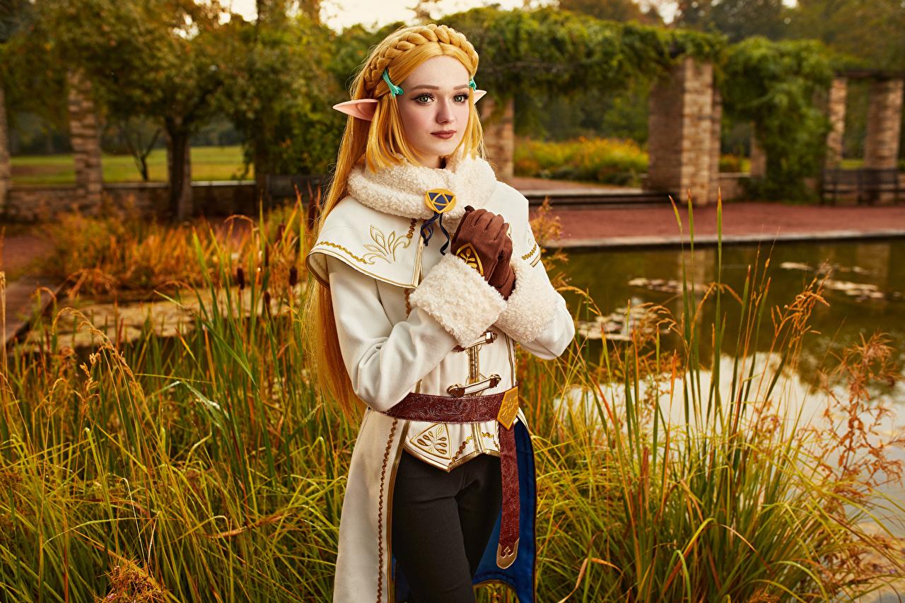 Fotos The Legend of Zelda Mikhail Davydov photographer Elfe Blond Mädchen Zelda Fantasy Mädchens Spiele Starren Elfen Blondine junge frau junge Frauen computerspiel Blick