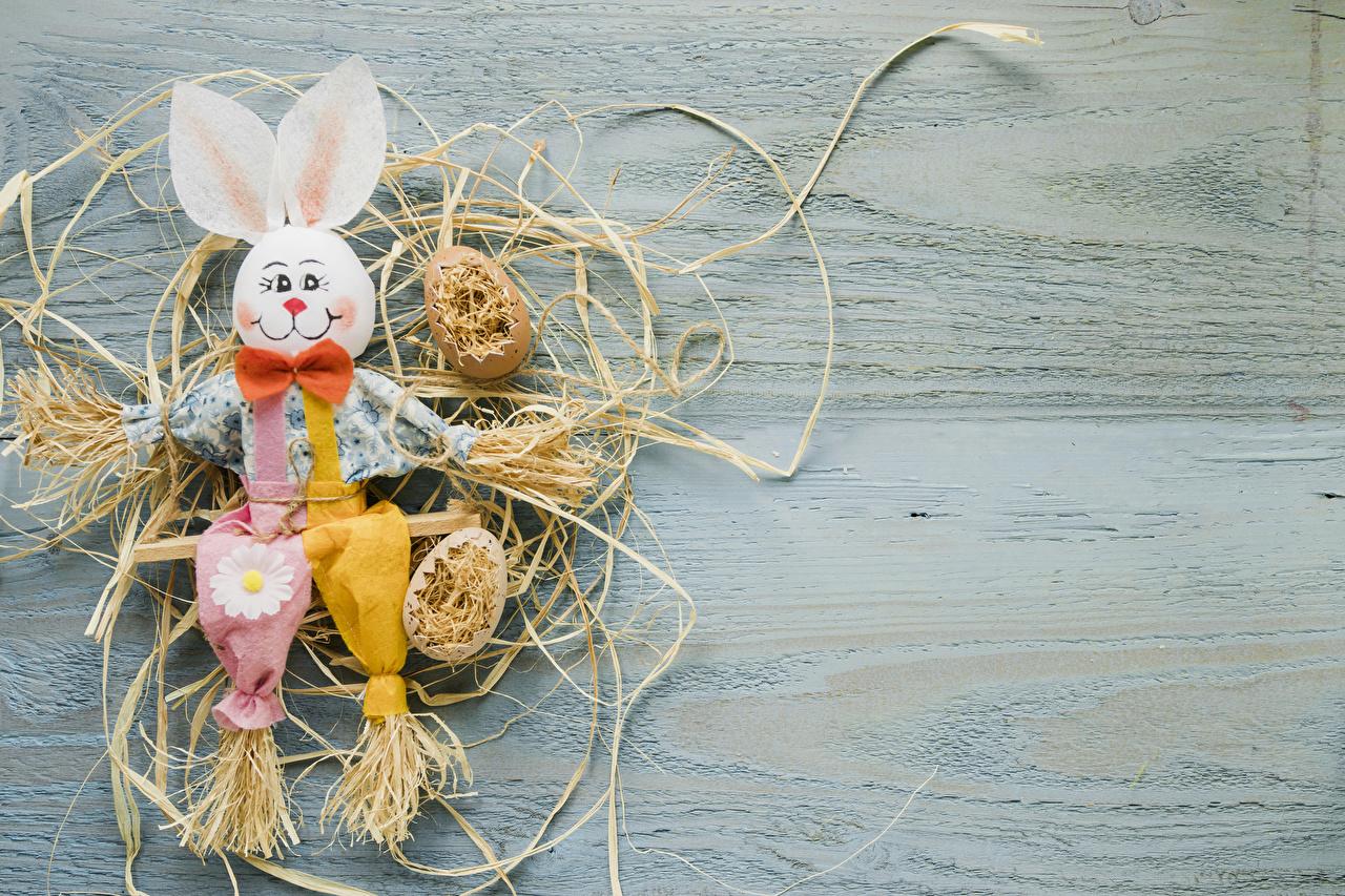 Desktop Wallpapers Easter Rabbits egg Straw Bowknot boards Design rabbit Eggs bow knot Wood planks