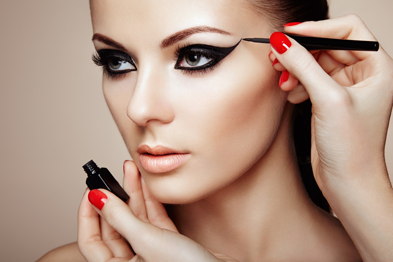 Image Manicure Makeup Beautiful Face Girls Hands female young woman