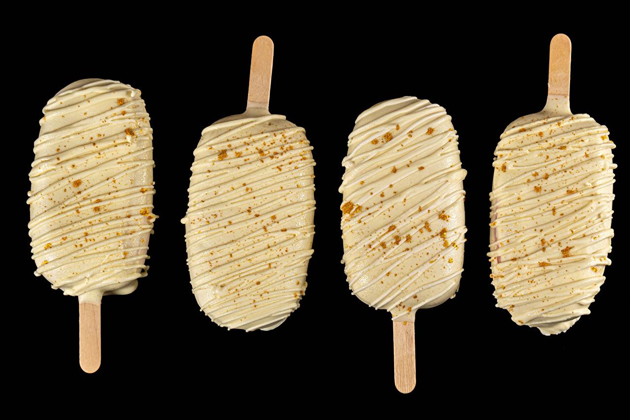 ,冰淇淋,黑色背景,食品,食物,