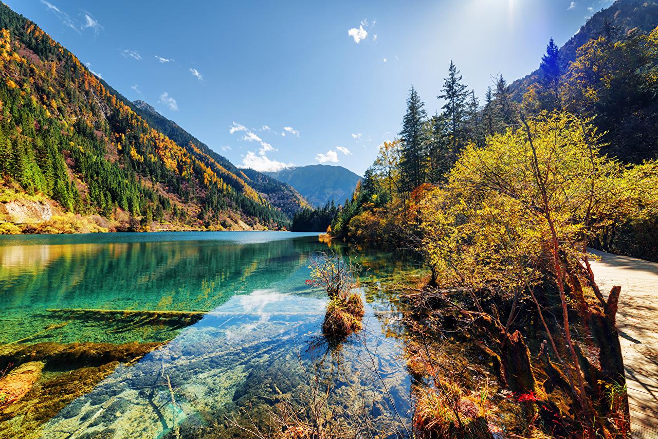 壁紙 九寨溝 中華人民共和国 公園 湖 山 秋 風景写真 自然