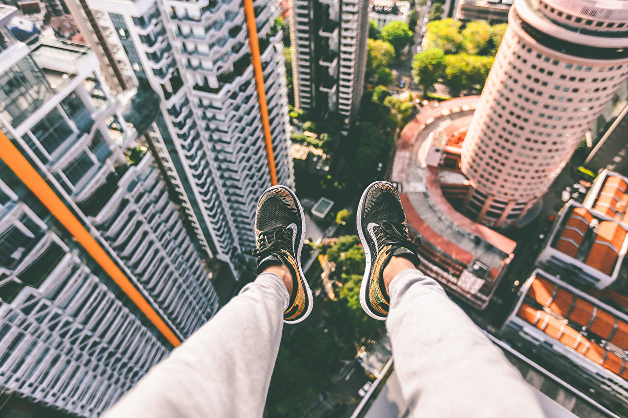Pictures sneakers Legs From above Skyscrapers Cities trainers Athletic shoe