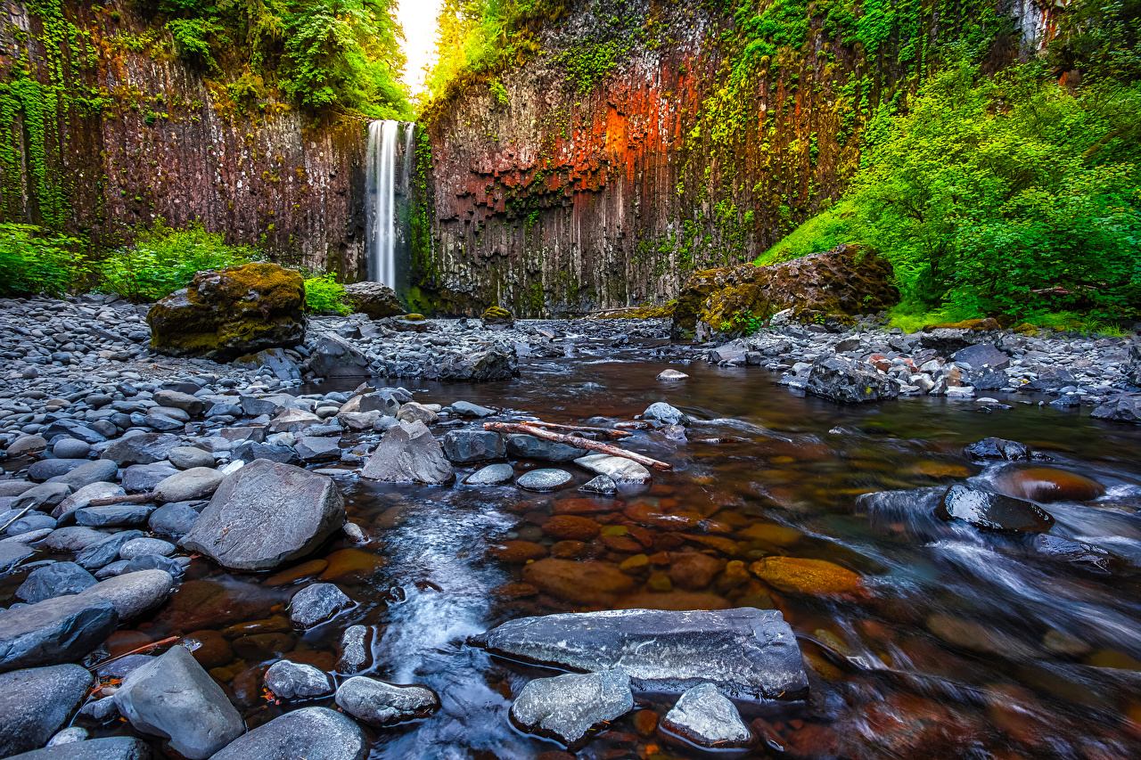 Picture USA Abiqua Falls Oregon Rock Nature Waterfalls Stones Crag Cliff