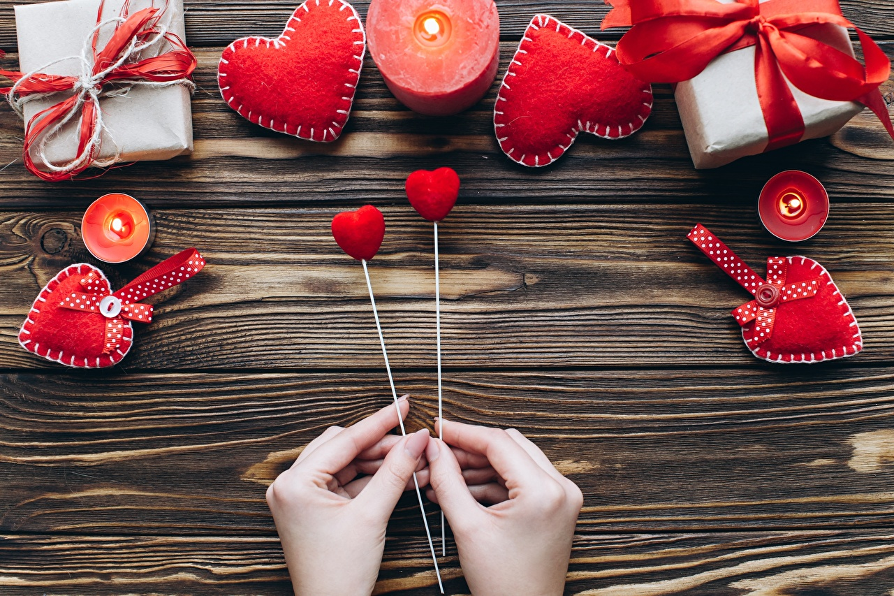 Picture Valentine's Day Heart Hands Candles boards Wood planks