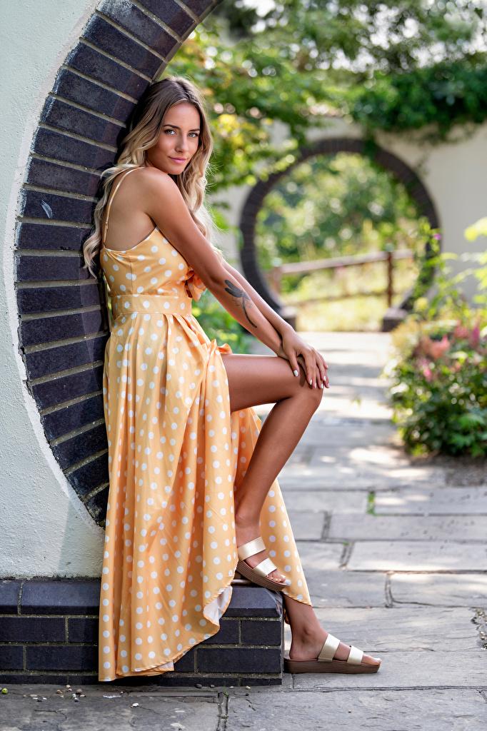 Bilder Blondine Wikky junge frau Bein Starren Kleid  für Handy Blond Mädchen Mädchens junge Frauen Blick