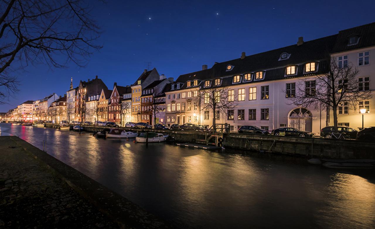 Desktop Wallpapers Copenhagen Denmark Canal Pier Night Street lights Cities Building Berth Marinas night time Houses