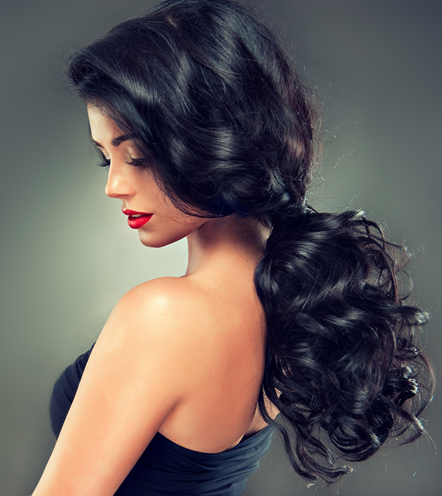 Wallpaper Brunette girl Hair young woman Red lips Gray background Girls female