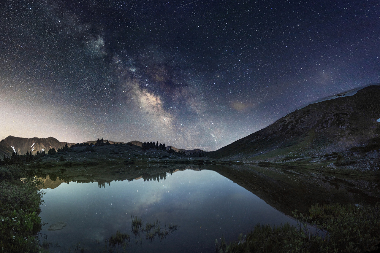 Picture Stars Milky Way Space Nature Sky Lake Night night time