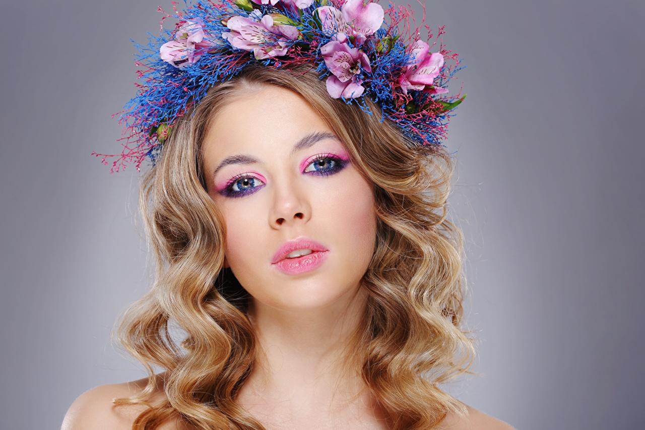 ,,模特兒,美麗,化妆,頭髮,花圈,凝视,发型,年輕女性,女孩,