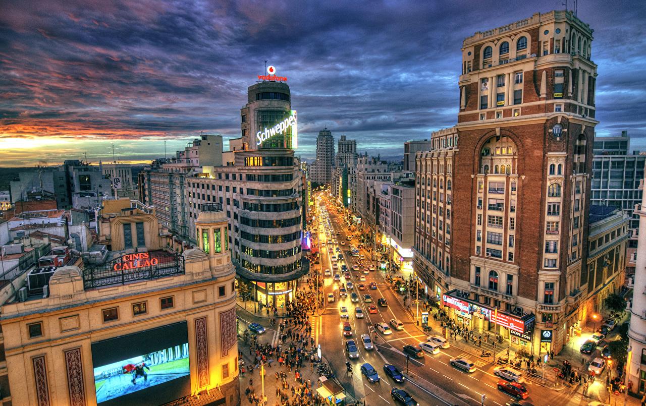 壁紙 スペイン 住宅 道 マドリード ストリート 夜 街灯 ハイダイナミックレンジ合成 都市 ダウンロード 写真