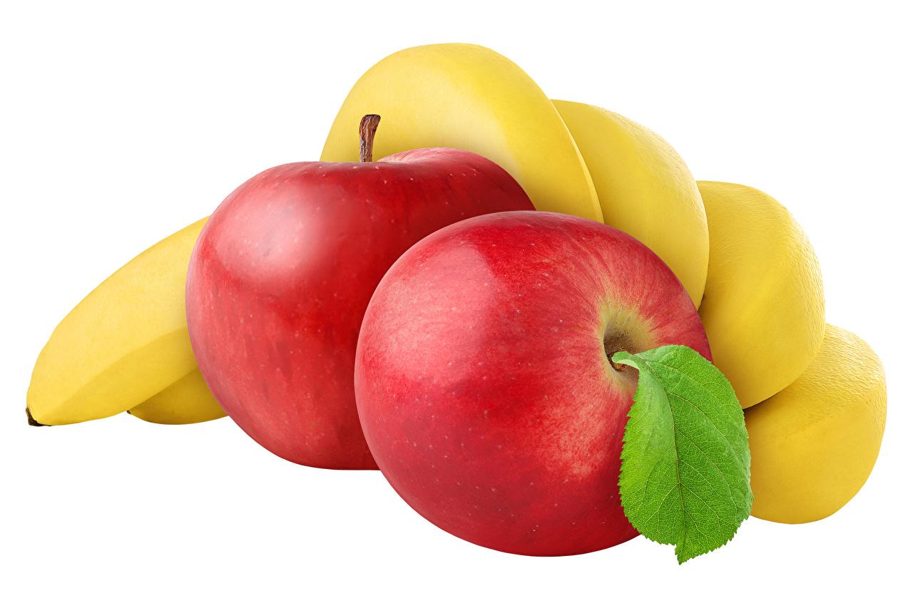 Desktop Hintergrundbilder Äpfel Bananen Obst das Essen Weißer hintergrund Lebensmittel