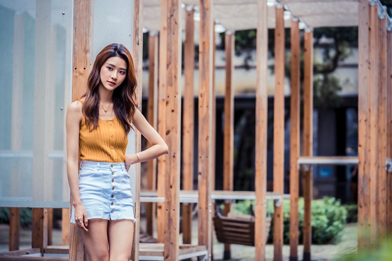 Desktop Wallpapers Skirt Pose young woman Asiatic Singlet posing Girls female Asian Sleeveless shirt